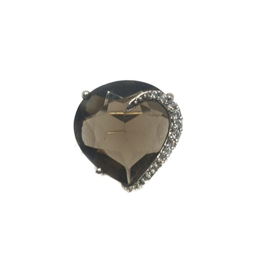 925 Sterling Silver Heart Shape Black Stone Ring MGA - LRS0073