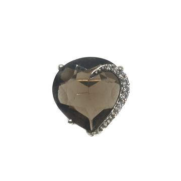 925 Sterling Silver Heart Shape Black Stone Ring M...