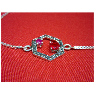 Silver 925 classic design red stone bracelet sb925-7