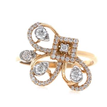 18kt / 750 rose gold fancy designer diamond ladies...