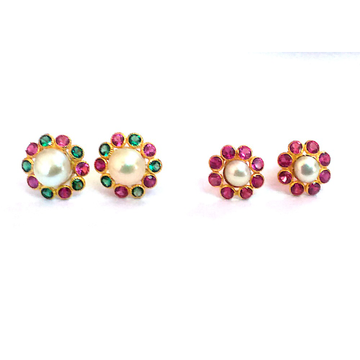 Fancy Color Stone Gold Earrings NJA-E007