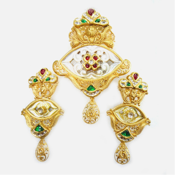 916 Gold Antique Bridal Pendant Set RHJ-2430