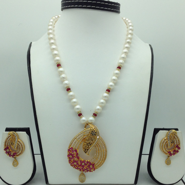 White,Red CZ Enamel PendentSet With RoundPearls...