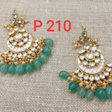 Chand Bali With Green Beads And Diamonds