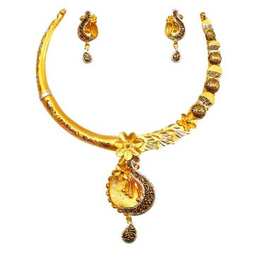 22K Gold Designer Necklace Set MGA - GN0094