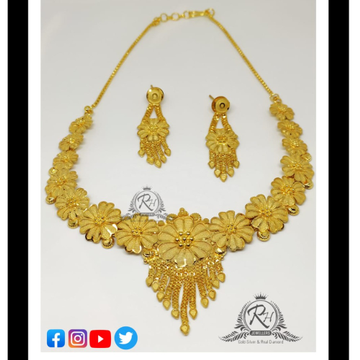 22 carat gold fancy ladies necklace set RH-LN288