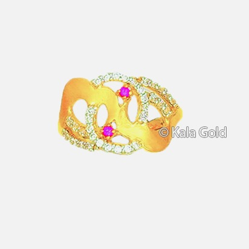 22 KT CZ Gold Designer Ladies Ring