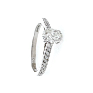 Oval Shaped Pie Cut Diamond Engagement Ring in 18k White Gold - VVS - VS - FG - 2.210 grams - 0.38 carat - 0LR43