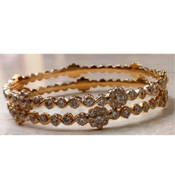 22kt gold close setting CZ fancy Pinji bangle