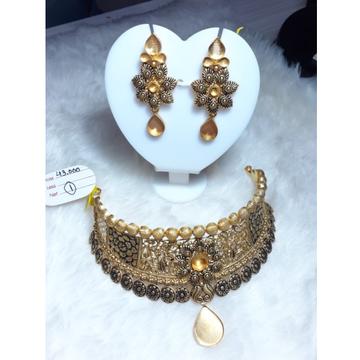 916 Gold Jadtar Khokha Necklace Set KG-N06 by