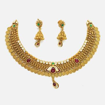 916 Gold Antique Wedding Necklace Set RHJ-4629