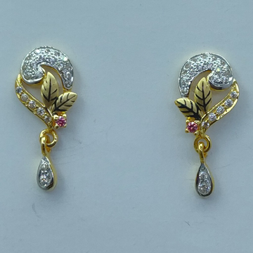 22k cz light weight fancy earrings by Shree Sumangal Jewellers