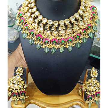 Designer mint green beads and colourful kundan's bridal necklace set 1085