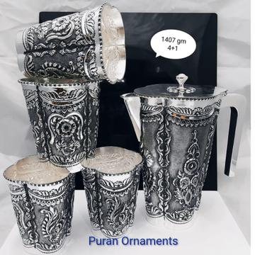925 pure silver designer jug glasses set po-247-02
