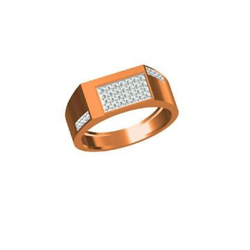 18Kt Men's Wear Fancy Simple Design Rose Gold Ring-31330