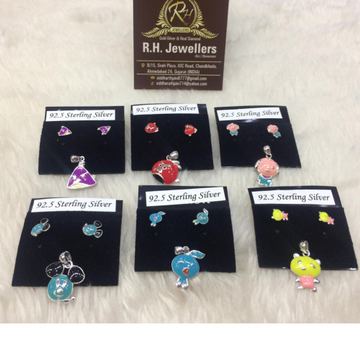 925 Sterling silver baccha Colorful Pendant Set