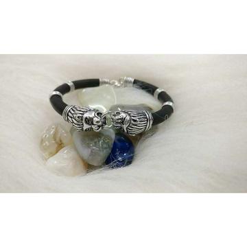 Oxodize Sih Mora Vagh Mora(Lion&Tiger) Pis Black Color Rubber Bracelet Ms-2592