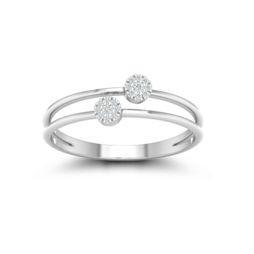 18kt, White gold Duo Sparkle ring for women JKR0976