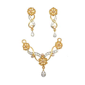 22K Gold Flower Shaped Mangalsutra Pendant With Earrings MGA - MDG0007