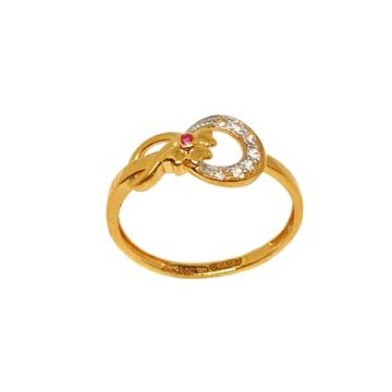 22K Gold Flower Shaped Pink Diamond Ring MGA - LRG1095
