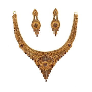 22k Gold Culcutti Necklace with Earrings by
