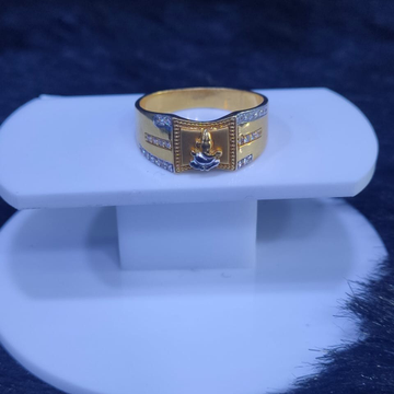 22KT/916 Yellow Gold Sparkle Cz Ganpati Ring For Men