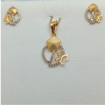 916 Gold Attractive Butterfly Design Pendant Set
