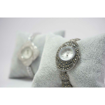 92.5 Sterling Silver Oxodize Oval Dial Pis Watch by