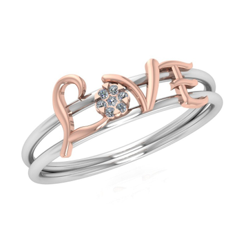 18K Rose Gold Love Diamond Ring JJ-R08