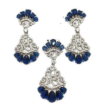 925 Sterling Silver Blue Stone Pendant Set MGA - P...