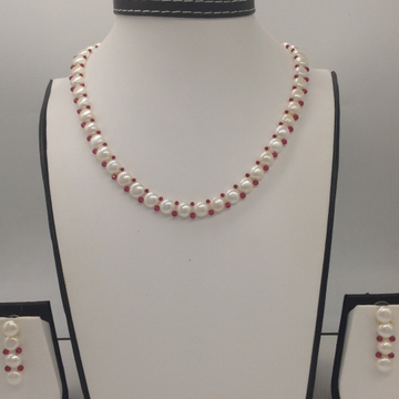 Freshwater White Button Pearls And Red Crystals1Lines Necklace Set JPP1024