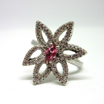 Silver 925 flower design pink stone ring sr925-42 by