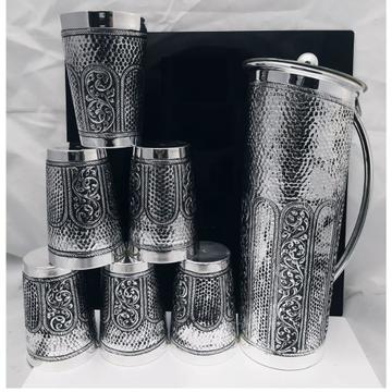 925 Pure Silver Stylish Antique Jug and Glasses Se...