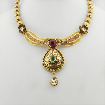 22K Gold Antique Bridal Necklace Set RHJ-3365