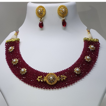 18k gold fancy necklace in red by