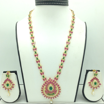 Red, Green CZ and White Pearls Long Haar Set JNC01...