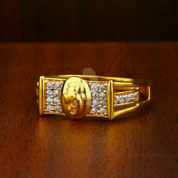 22ct Cz Gold Fancy Gents Ring