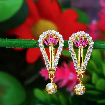 Light Weight Fancy Gold Diamond Earrings