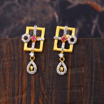 Ladies 916 Gold Fancy Long Earrings -LFE189