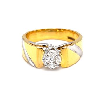 Pressure setting solitaire look diamond ring