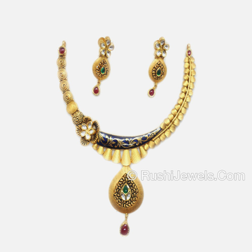 22k Gold Designer Bridal Necklace Set