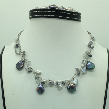 Freshwater Grey Pearls and Aquamarine Silver Chain...