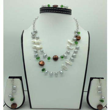 Freshwater Pearls and Green CZ Silver Chain Set JN...