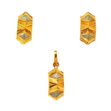 22K Gold Modern Pendant Set MGA - PTG0114
