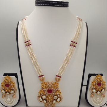 WhiteAnd Red CZFusion Rani HaarSet With 3Lines FlatPearls Mala JPS0493