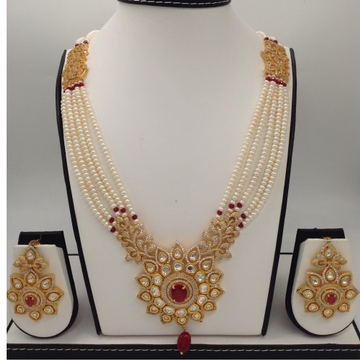 WhiteAnd Red CZFusion Rani HaarSet With 5Lines FlatPearls Mala JPS0471