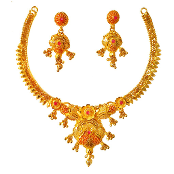 1 Gram Gold Forming Flower Shaped Pink Diamond Necklace Set MGA - STE0110