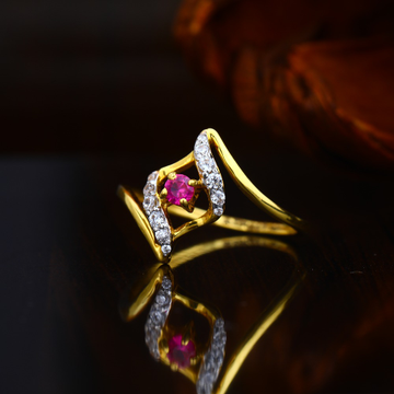 22KT Gold Pink Stone Trendy Ring