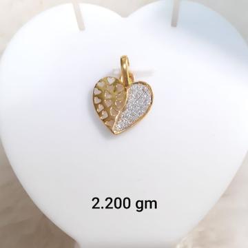 22KT Gold CZ Heart Shape Pendant KG-P07