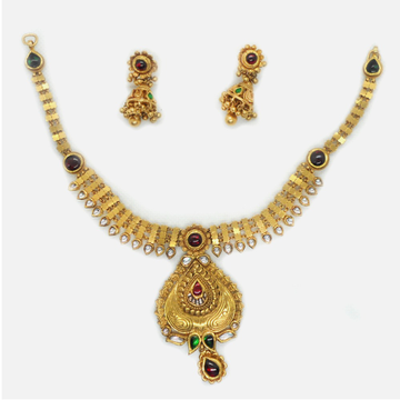 916 Gold Antique Bridal Necklace Set RHJ-6038